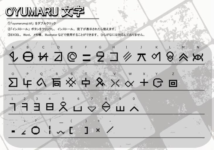 oyumaru文字:対応表
